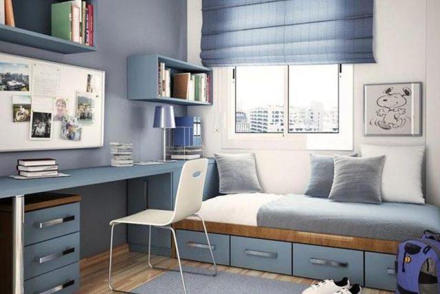 детская комната в серо-синем цвете