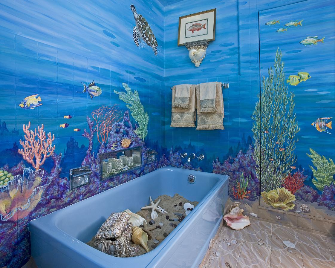 панели с рисунком для ванной комнаты фото