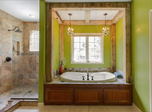 Стены в ванной зеленого цвета