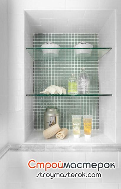 Полки для ванной стеклянные