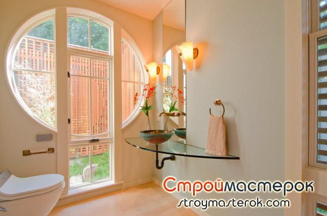 Стеклянная мебель в ванной комнате