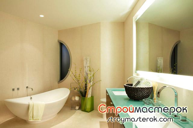 Зеленая столешница из стекла в ванной