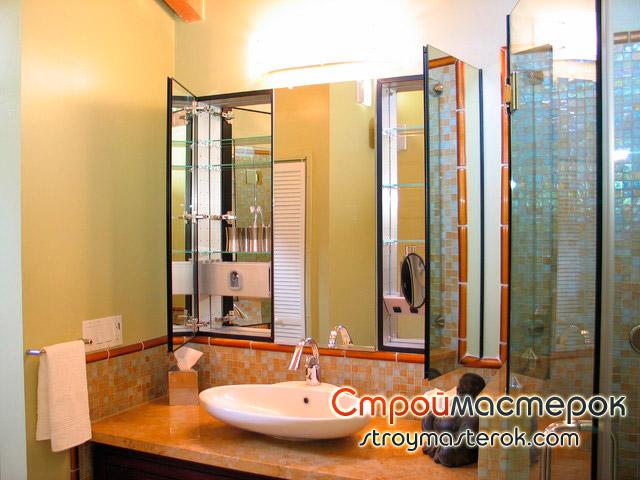 Зеркало со шкафом в ванную