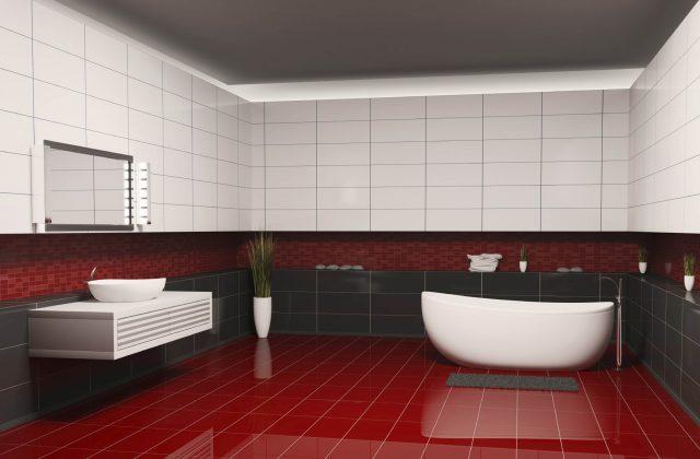плитка красно белая в ванную