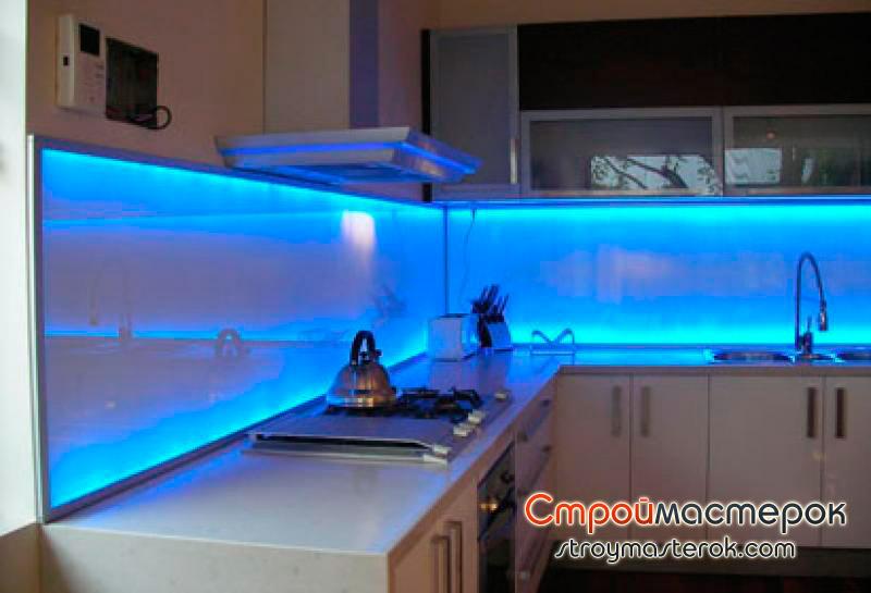 Панели для кухни с подсветкой
