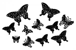 Трафарет бабочек на стену