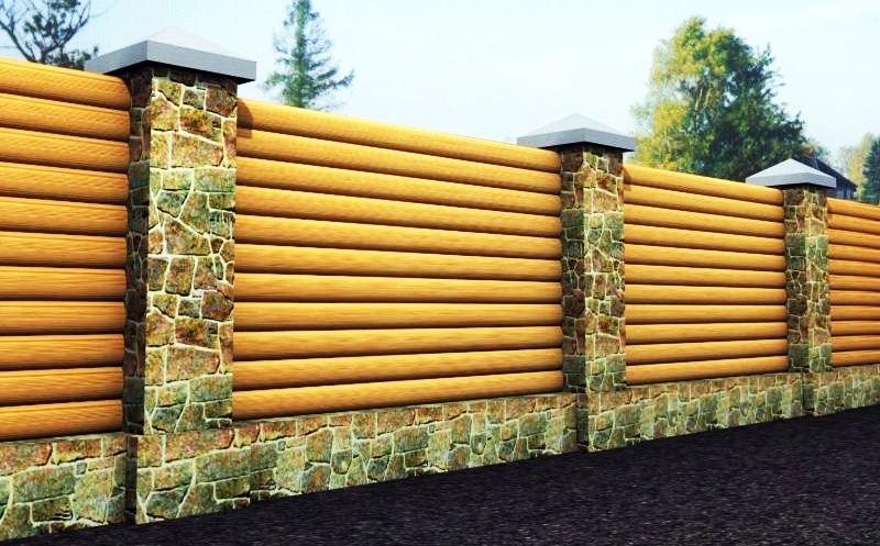 Забор из сайдинга под бревно