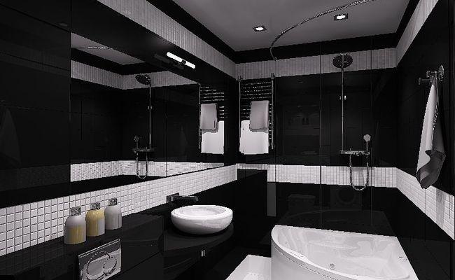 ванная комната с черной плиткой фото