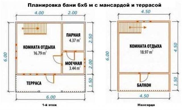 Планировка бани 6х6 м с мансардой и террасой
