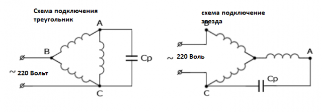 Схема подключения двигателя 380 на 220